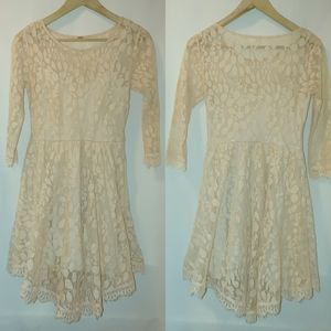 Free People Floral Mesh Lace Dress Scalloped Mini